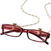 Women's Gold Tone Faux Pearl Eyeglasses Holder Necklace Chain