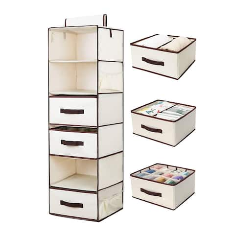 StorageWorks 6-Shelf Hanging Closet Organizer Foldable Hanging Shelves