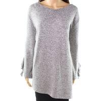 Clara Sunwoo Gray Women's Size 3X Plus Ruffle-Detail Knit Top