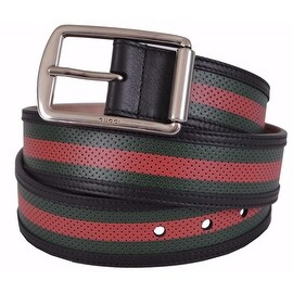 New Gucci Men's 295331 Red Green Stripe Perforated Leather Belt 38 95