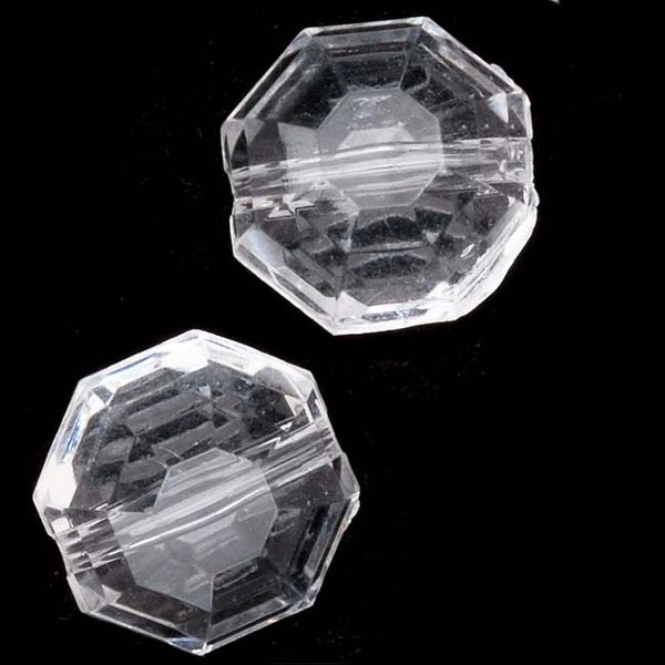Acrylic Faceted Octogan Coin Beads Clear 12mm (12)