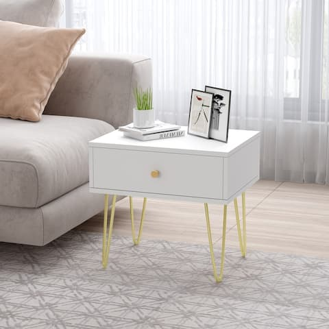 1-drawer Nightstand with 4 Metal Legs