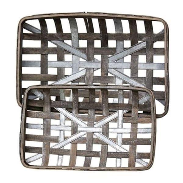 2/Set Gray Wash Rectangle Tobacco Baskets w/Metal Strips
