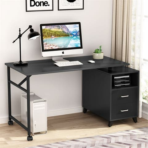 "47"" Computer Desk with 360° Free Rotating Reversible Storage Cabinet"