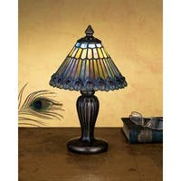 Meyda Tiffany 27560 Stained Glass / Tiffany Accent Table Lamp from the Jeweled Peacock Collection