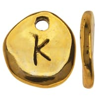 Gold Plated Lead-Free Pewter, Pebble Alphabet Charms Letter 'K' 9x10mm, 10 Pieces, Antiqued Gold