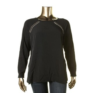 Calvin Klein Womens Embellished Hi-Low Pullover Sweater - XL