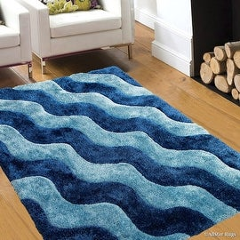"Allstar Blue Shaggy Area Rug with 3D Light Blue Wavy Design. Contemporary Tween Hand Tufted (7' 6"" x 10' 5"")"