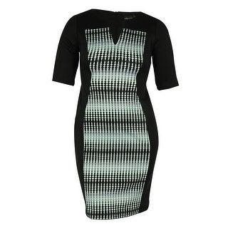 Connected Women's Split Neck Scuba Dress - mint