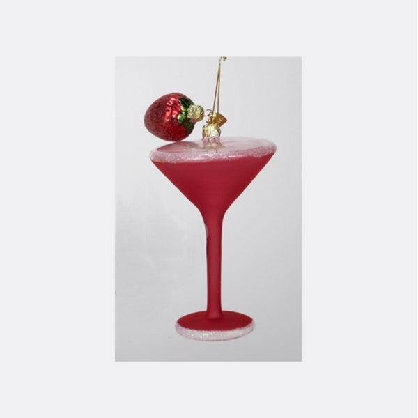 "6"" Happy Hour Hand-Painted Strawberry Martini Cocktail Glass Christmas Ornament - PInk"