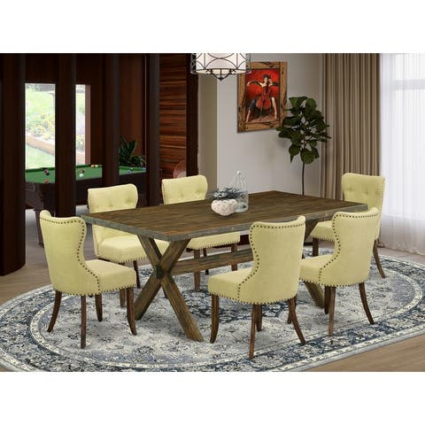 X727SI737-5 5-Piece Modern Dining Table Set- 4 Dining Chairs with Limelight Linen Fabric Seat and Button Tufted Chair Back
