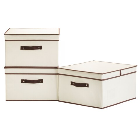 StorageWorks Jumbo Storage Box with Brown Trim and Lid, 3-Pack