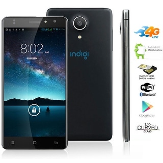 Indigi NEW 5in 4G Unlocked Android 6.0 Smartphone Cell Phone GPS WiFi AT&T StraightTalk - Black