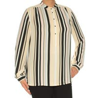 ANNE KLEIN Womens Light Blue Striped Cuffed Jewel Neck Top  Size: 14