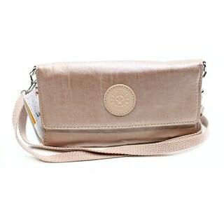 Kipling NEW Pink Rose Gold Metallic Zuma Wallet With Strap Handbag