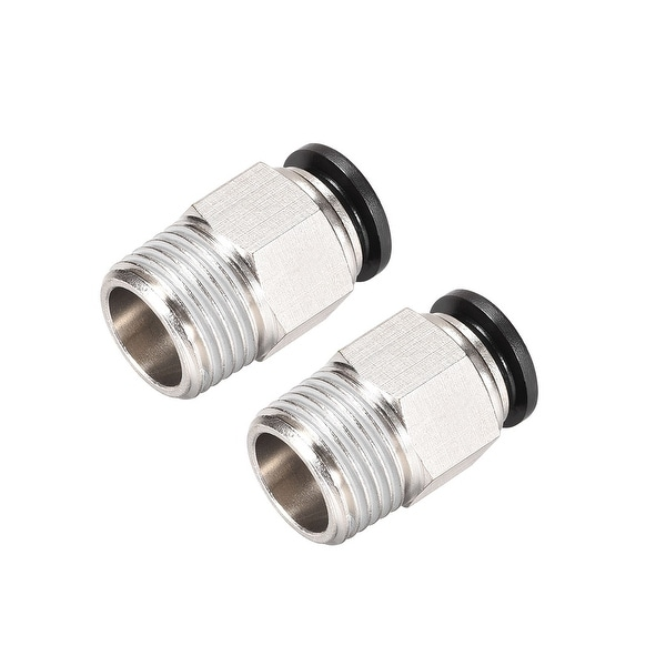 Straight Pneumatic Push to Quick Connect Fittings 1/2NPT x 12mm Silver Tone 2pcs