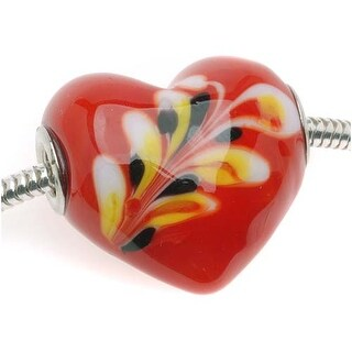 Glass Lampwork Red Flame Swirl Large Heart European Style Bead - 25mm (1)