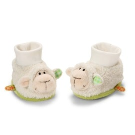 Rattling Plush Baby Booties with Lamb