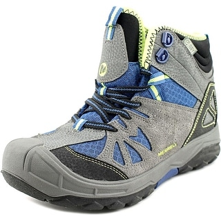 Merrell Capra Mid Waterproof Youth Round Toe Leather Gray Hiking Boot