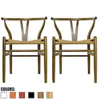 2xhome - Set of 2 Walnut Modern Wood Dining Chair With Back Arm Armchair Hemp Seat For Home Restaurant Office