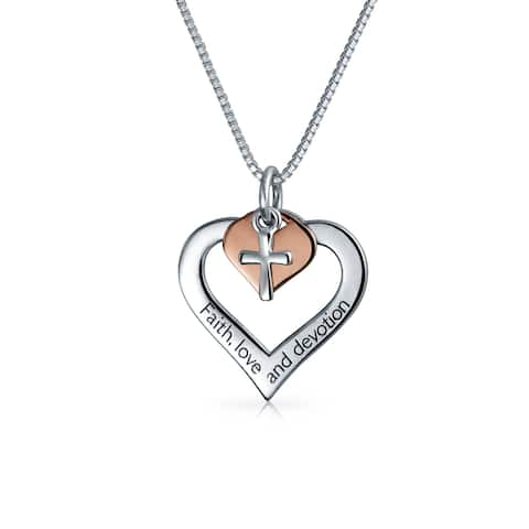 Heart Shape Cross 2 Tone Pendent Engraved Faith Love Devotion Rose Gold Sterling Silver For Women Necklace 16 In Chain