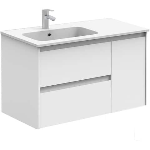 """WS Bath Collections Ambra 90 Ambra 35-3/5"""" Wall Mounted / Floating Single Vanity Set with MDF Wood Cabinet and Acrylic Vanity"""