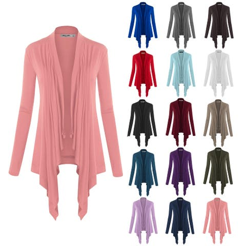 Women's Basic Draped Long Sleeve Open Front Knit Cardigan
