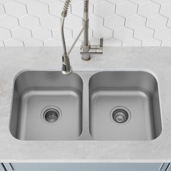 KRAUS Premier Stainless Steel 32 inch 2-Bowl Undermount Kitchen Sink. Opens flyout.