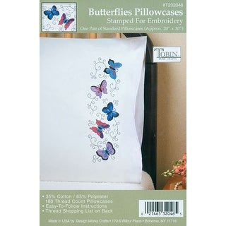 """Stamped Pillowcase Pair For Embroidery 20""""X30""""-Butterflies"""