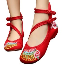 Women fashion Casual Shoes BalletCloth Embroidered Shoes Round Toe red 34