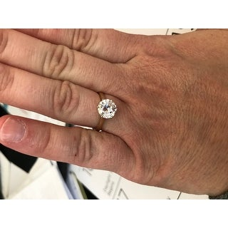 Moissanite by Charles & Colvard 14k 1.90 TGW Gold Round Solitaire Ring