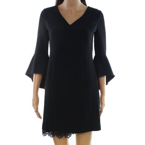 Lauren By Ralph Lauren Black Womens 6P Petite Lace-Hem Shift Dress