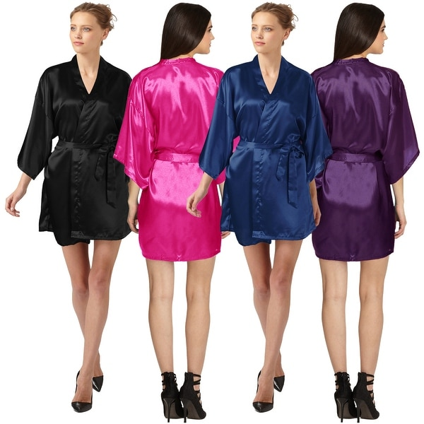 Sexy Womens Plain Satin Soft Charmeuse Kimono Bathrobe Belt Robes Set Lingerie