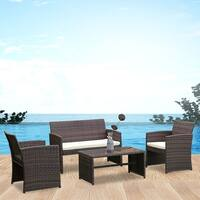 Costway 4 PCS Outdoor Patio Rattan Wicker Furniture Set Table Sofa Cushioned Garden Deck - as pic