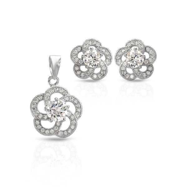 Mcs Jewelry Inc STERLING SILVER 925 CUBIC ZIRCONIA FLOWER EARRING AND PENDANT SET WITH MIDDLE STONE