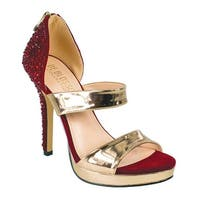 De Blossom Collection Adult Red Metallic Straps Crystal Pumps