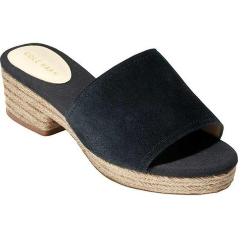 Cole Haan Women's Giselle Mid Espadrille Slide Black Suede
