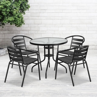 """Link to 31.5"""" Round Glass Metal Table with 4 Metal Aluminum Slat Stack Chairs Similar Items in Outdoor Dining Sets"""