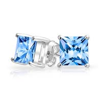 Bling Jewelry Square CZ Princess Cut Blue Stud earrings 925 Sterling Silver 7mm