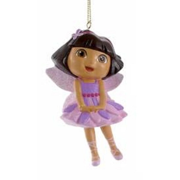 """3.75"""" Dora the Explorer Fairy Dora with Pink Glitter Wings Christmas Ornament"""