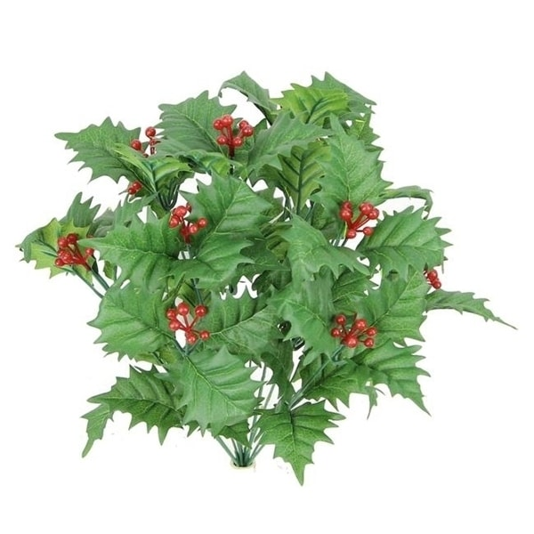 Admired by Nature GPB5811-GREEN 12 Stem Artificial Holly Leaves Berries Mixed Bush Green