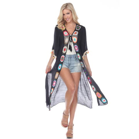 Crochet Kimono Cover-Up - Black - M