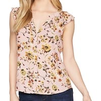 Sanctuary Pink Womens Size Small S Floral Button Down Blouse