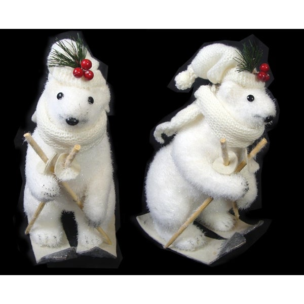 "11"" Downhill Skiing Polar Bear with Poles, Scarf and Holly Hat Christmas Figure - WHITE"