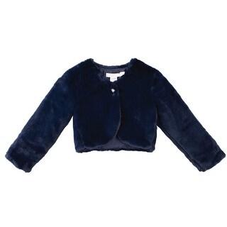 Designer Kidz Baby Girls Navy Button Long Sleeved Thalula Fur Shrug