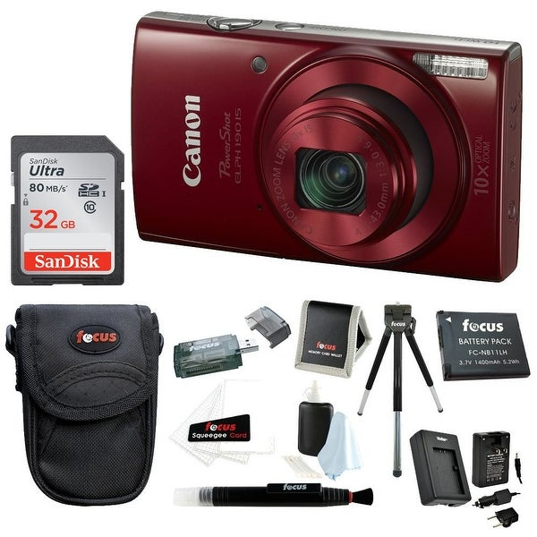 Canon PowerShot ELPH 190 IS 20 MP Digital Camera Red W 32GB Accessory
