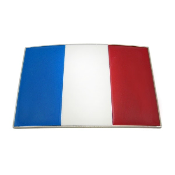 French Flag Chrome and Enamel Belt Buckle France