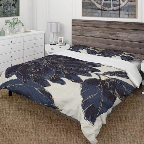 Designart 'Indigo Gold Metallic Flower' Farmhouse Bedding Set - Duvet Cover & Shams