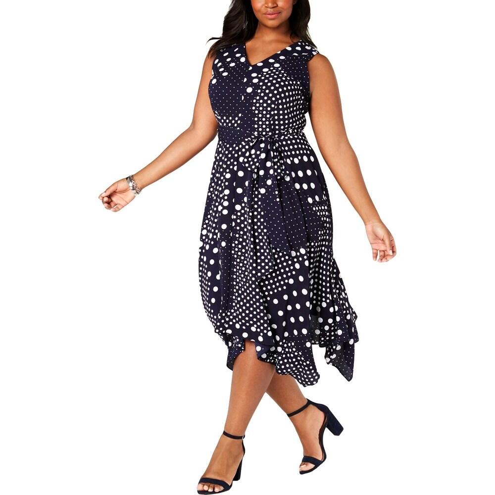 Jessica Howard Womens Plus Midi Dress Dotted Handkerchief Hem - Navy/White by  Top Reviews