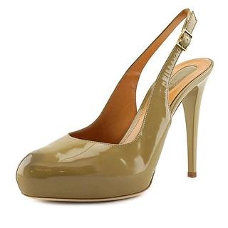 Lerre LR 3324 Women Round Toe Patent Leather Brown Slingback Heel